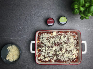 Tortellini Auflauf mit Käse überbacken